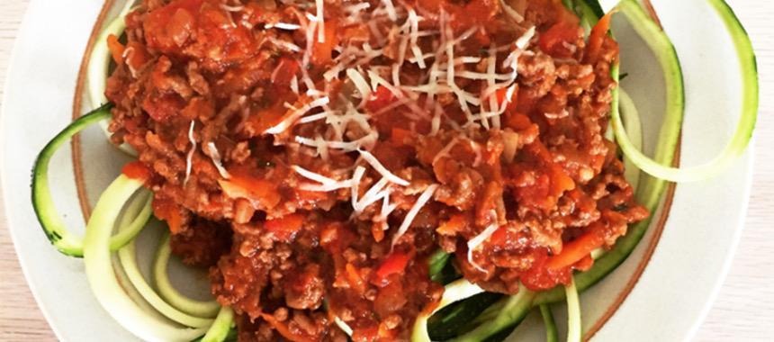 squash spaghetti med kødsauce